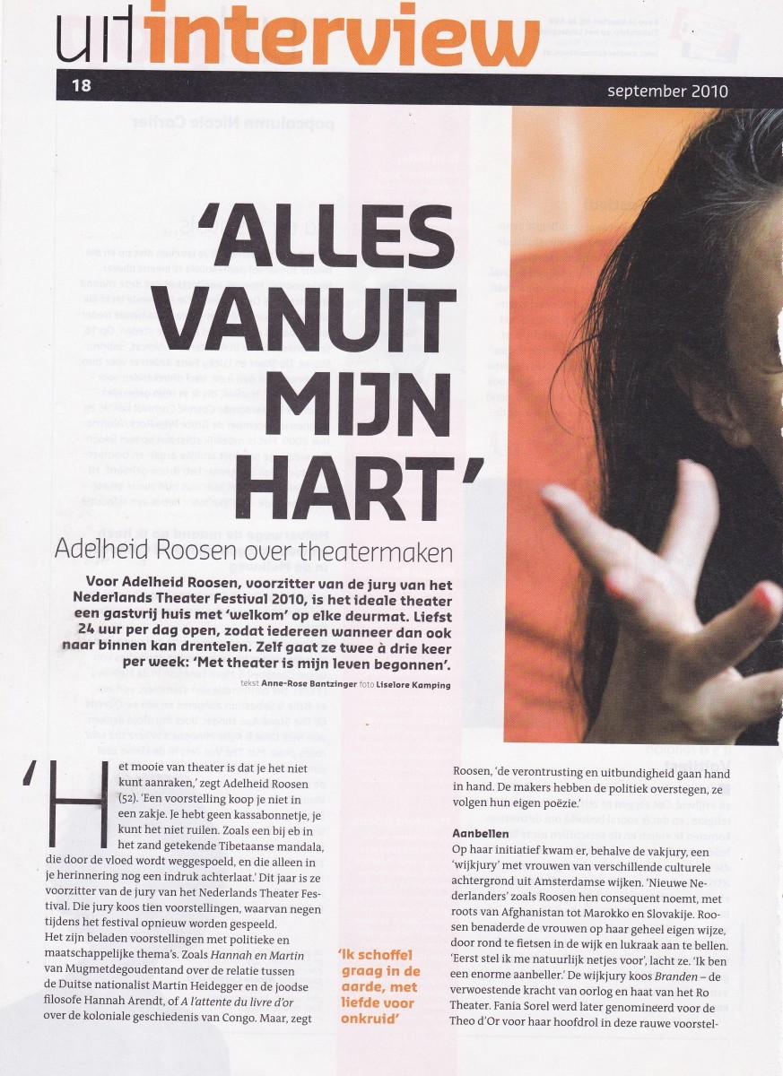 2010-09  Uitkrant  interview Adelheid Roosen 1