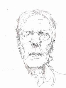 Herman Gordijn, laatste zelfportret 2017 gemaakt op de iPad